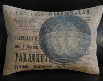 French Hot Air Balloon Burlap Pillow, Aviation Accent , INSERT INCLUDED