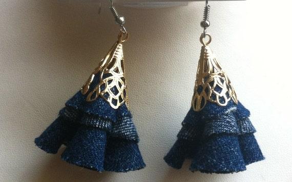 Eco friendly upcycle blue jean dangle earrings