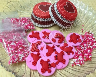 Edible Fondant Crabs Red and Pink Set.  Ready for Your Home Made Cupcakes. Made from Vanilla Fondant