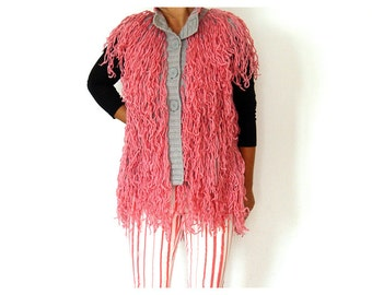 SALE. Fringe Sleeveless Jacket.