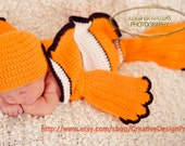 Character Costume Finding Nemo Dory set - Clownfish Cocoon and Hat, coral fish newborn outfit, Halloween, photo prop, gift for baby shower