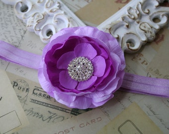 Baby Headband..Purple Flower Headband..Infant..Newborn Headband..Purple and Lavender Flower Gray Headband..Purple Flower..Newborn Photo Prop