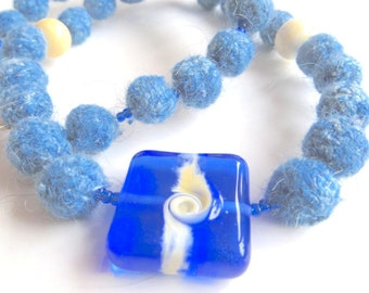 """Plant dyed Ahimsa Silk/Peace Silk necklace """"Vancouver"""", organic wool, seed beads, artisan beads, silver, blue, ivory, OOAK, one of a kind"""