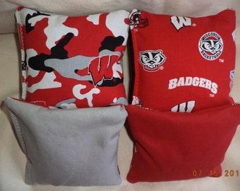 Cornhole bags Wisconsin Badgers corn hole bean bags 8 ACA regulation Badgers bean bag toss