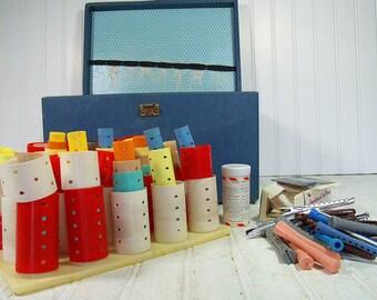 Beauty School Kit Denim Blue Wooden Case & Original Accessories - Vintage Retro Beautician's Supplies Tote - Curlers, Pins, Wraps Included