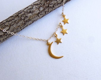 Gold Moon and Three Stars Necklace --  Vermeil and 14k Gold filled -- Mothers Necklace  -- Friendship