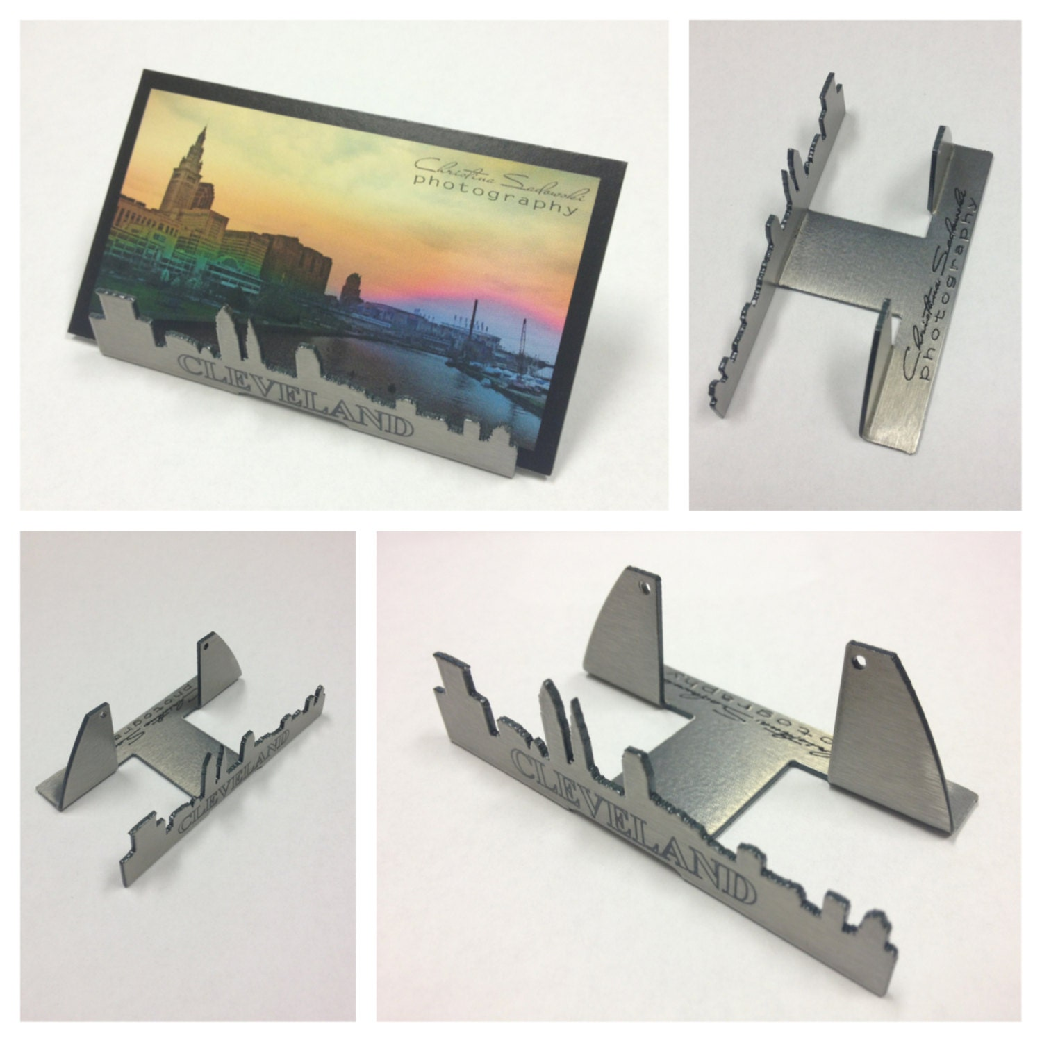 Cleveland skyline business card holder stainless steel ohio zoom magicingreecefo Images
