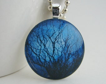 Full Moon in the Trees Glass Tile Pendant with Free Necklace