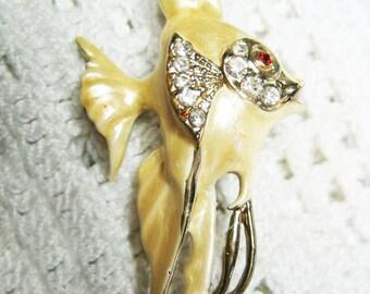Vintage Adorable Yellow Enamel Rhinestone Angel Fish Brooch