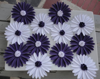 White and Purple Daisies - Paper Daisies Wall Decor