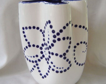 Ceramic Vase - Hand Painted - White and Dark Blue Dots Flower Swirls
