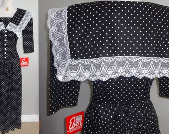 80s sailor collar Polka Dot Dress cotton short sleeves dress New with tags Old Stock / S-M