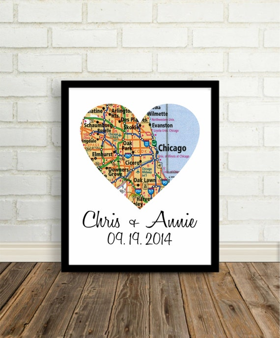 Print Chicago Wedding Gift Any City Available Unique Wedding Gift ...