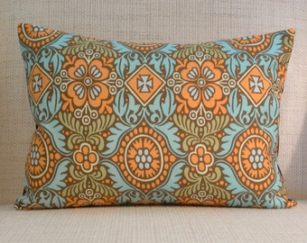 Throw Pillow Cover - Upcycled Mod Inspired Floral - Brown, Orange, Sage, Aqua - 12 x 16