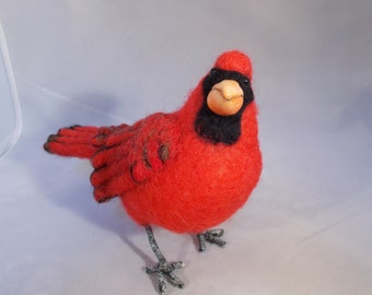 Cardinal Life size Needle felted  Made to Order OOAK by Grannancan
