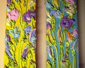"SALE! Impasto Thick Acrylic Palette Knife ""Pastel Dreams I & II "" on wood Paintings flowers yellow blue acrylic"