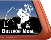 Bulldog Mom | DC326MOM | High Quality Adhesive Vinyl English Bulldog Window Decal Sticker