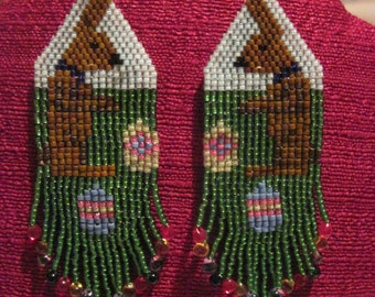 Native Style Brown Easter Bunny Earrings...1509h