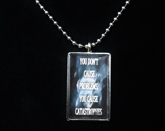 Custom Quote Pendant - Catastrophe - Kate Daniels Series - Book Quote - Urban Fantasy - Author Swag - Themed Jewelry