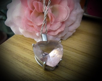 3D Blush-Rose Original SWAROVSKI Faceted Heart Crystal , Set in  925 Sterling Silver (Stamped) WITH 925 Sterling Chain