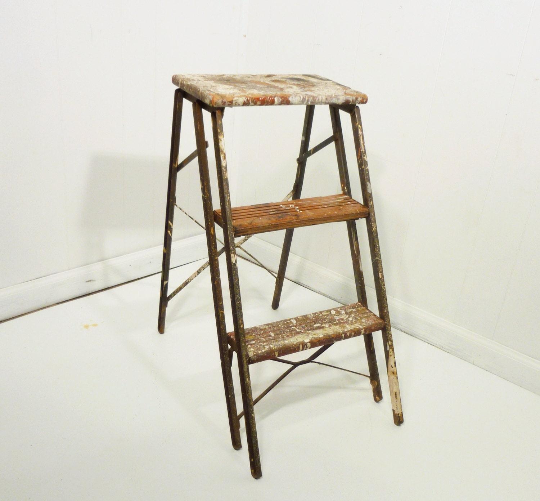 Vintage Wood Metal Step Stool Vintage Ladder By Gillardgurl