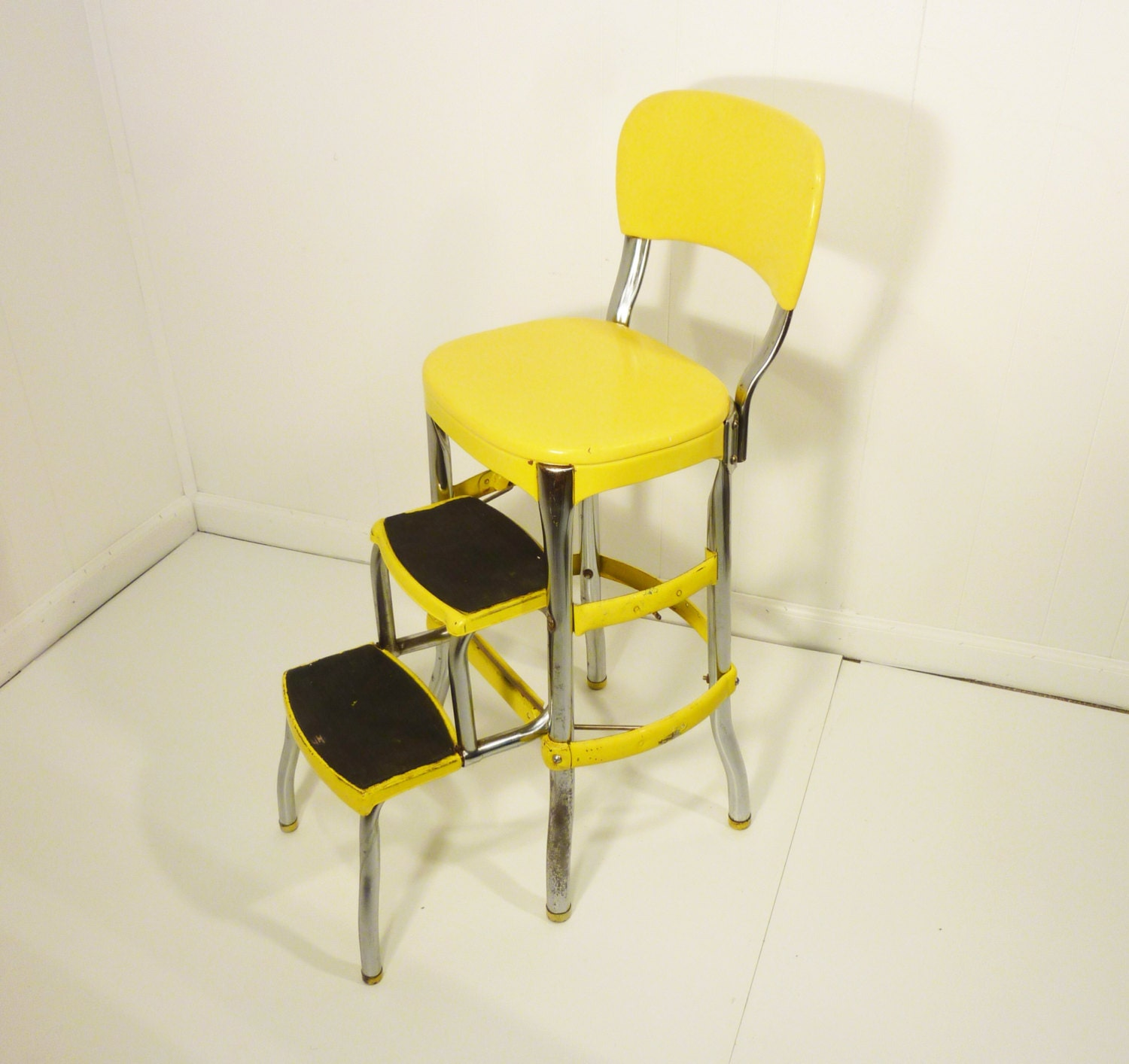 Yellow Retro 50s Vintage Step Stool Kitchen Chair Cosco