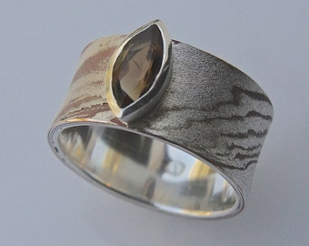 OOAK mokume gane ring in silver and copper with a citrine