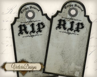 Halloween Tombstone tags decor printable paper craft art hobby crafting scrapbooking instant download digital collage sheet - VD0463