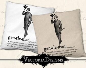 Gentleman digital transfer image iron on printable instant download digital collage sheet VD0614