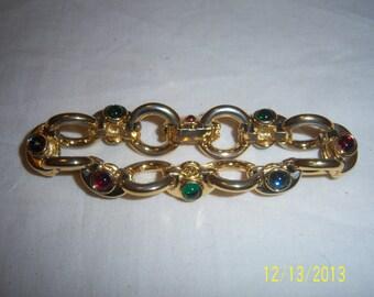 Vintage Metal Gold Tone Bracelet  -  Retro Bracelet with Colorful Glass Stones  - Signed Bracelet