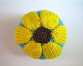 Girl's Knit hat with SUNFLOWER Top, Size 1 year - 3 years Aqua Large Flower, Eye-catching, Cool Weather - LittleKnitsStudio
