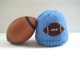 Boy's FOOTBALL Hat - boy's winter hat - knit boy's hat - boy's fashion - boys sports hat -- gift for boy - knitted boy's hat