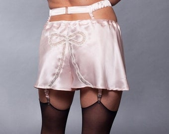 Silk Underwear Boxers Panties Shorts Lace / Pink White Bow Burlesque - DECO TAP SHORTS Ready-to-Ship