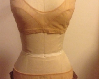 Racy Sheer Nude Nylon Bra and Panty Set See Thru Lace Trim  Fits XS Small Medium