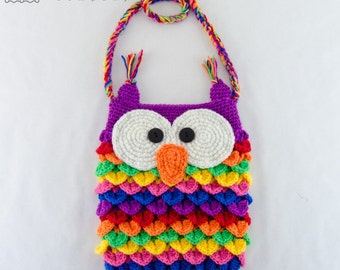 Crochet Animal Bag Free Pattern : Colorful Owl Purse - PDF Crochet Pattern - Instant ...