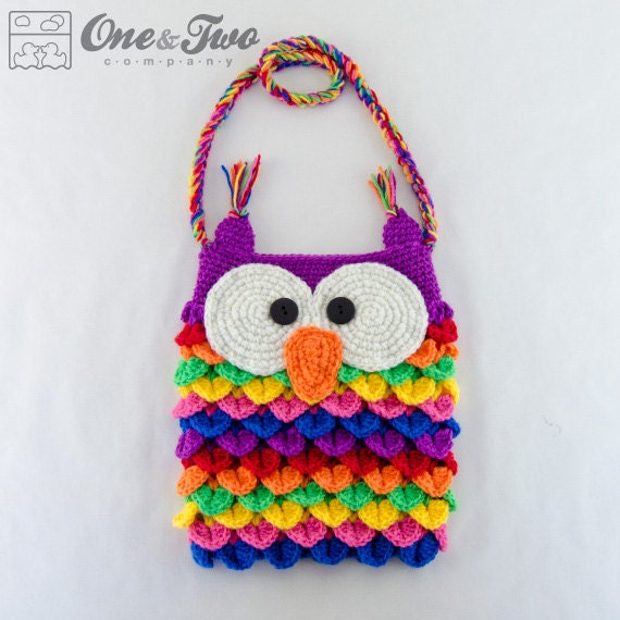 Free Crochet Pattern Owl Tote Bag : Colorful Owl Purse PDF Crochet Pattern Instant Download