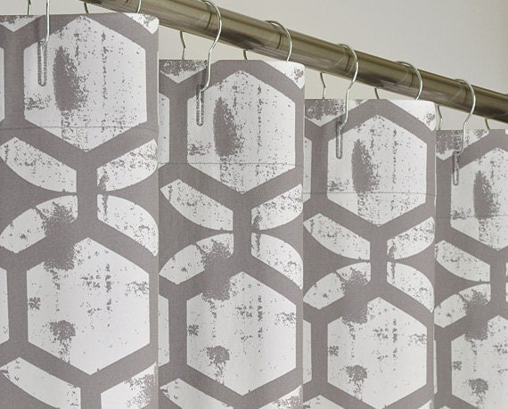 72 x 84 LONG Gray & White Shower Curtain by PondLilly on Etsy