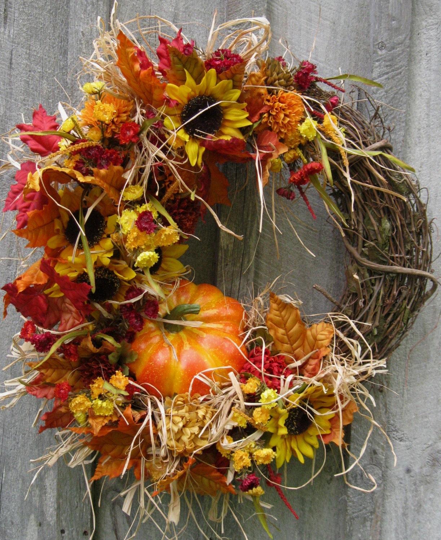 Fall Wreath Autumn Wreaths Thanksgiving Harvest Woodland