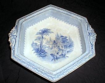 Antique JOHN RIDGWAY English Blue Transferware Aladdin Hexagonal Serving Bowl 1846