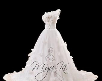One Shoulder Rosette Princess A-Line Bridal Gown (Custom Order MKB50)