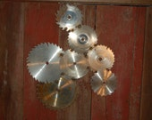 circular saw blade art piece country or steam punk