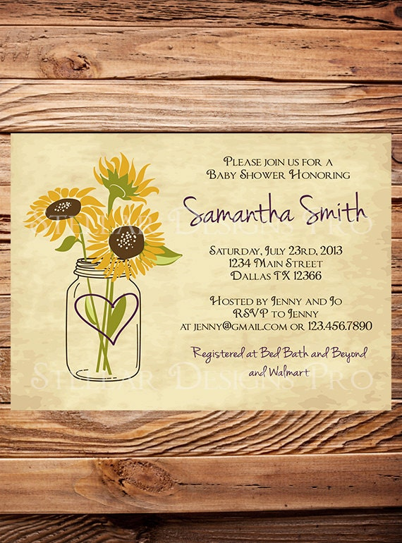 sunflowers baby shower invitation rustic vintage mason jar baby