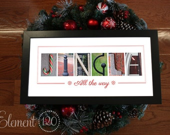"Holiday and Christmas Decoration with Alphabet Photography - Jingle All the way Print: Modern Frame 10""x 20"""