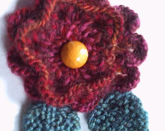 OOAK hand knitted flower brooch pin. Red and oranges. On sale