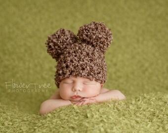 Newborn Pom Pom Hat, Newborn Photo Prop, Newborn Boy Hat, Newborn Girl Hat, Brown Hat, Soft Fuzzy Newborn Hat, Infant Pom Pom Hat, Boy Hat