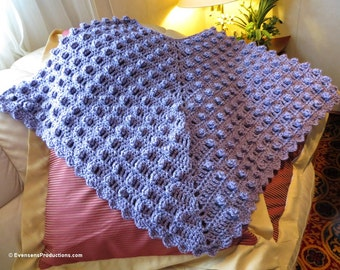 Lavender Poncho - Fits Teen to Adult - Highly Textured Hand Crocheted Popcorn Stitch Poncho - Wear Points Front Back or Side Side -Item 3033