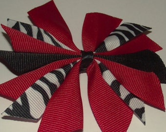Red and Black and Zebra Hair Bow