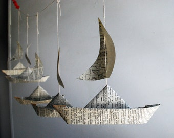 Paper Boat Garland, Dictionary pages, Party Decor, 5 Fun Paper Boats with sails, Bon Voyage Ornament, Travel Decoration