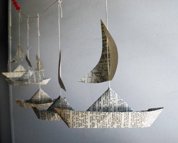 Items similar to paper boat garland dictionary pages for Sejour design decoration