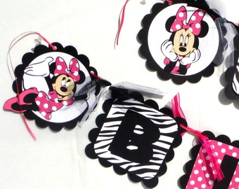 Minnie Mouse Hot Pink With Zebra Print Theme Party Happy Birthday Banner Clubhouse